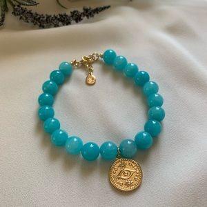 Aqua Amazonite Evil Eye Charm Bracelet